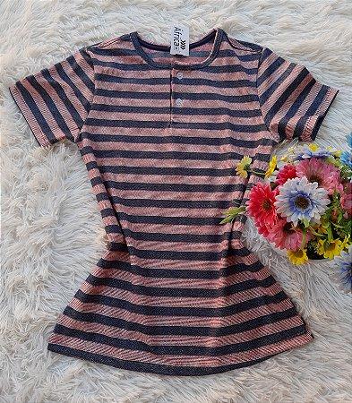 T-Shirt Botões no Atacado Listrada cinza e vermelho