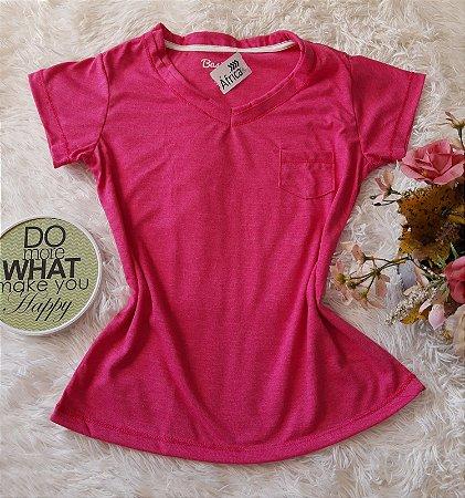 T-Shirt Feminina No Atacado Básica Bolso Rosa Liso