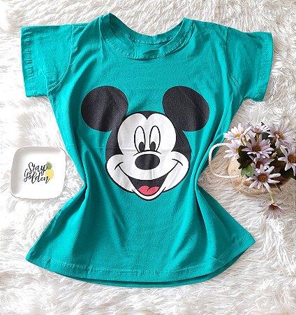 T-Shirt Atacado Mickey Rosto Verde