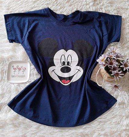 T-Shirt Atacado Mickey Rosto Marinho