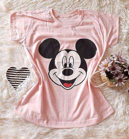 T-Shirt Atacado Mickey Rosto Rosa