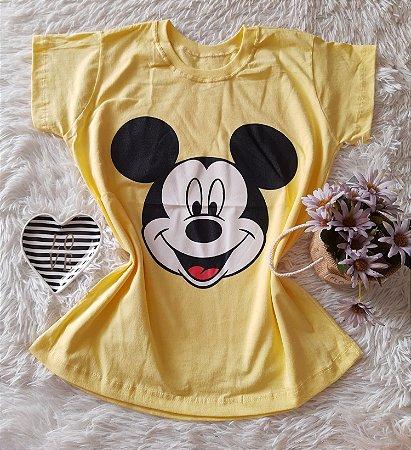 T-Shirt Atacado Mickey Rosto Amarelo