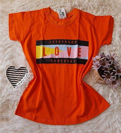 Camiseta no Atacado Love Laranja