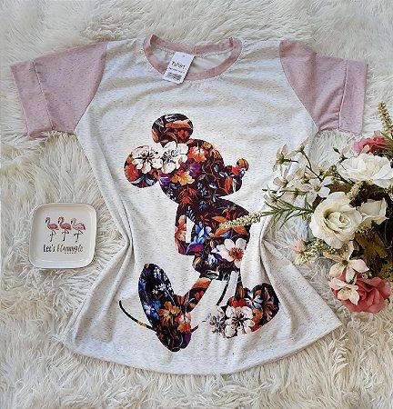 T-Shirt Feminina Mickey Floral