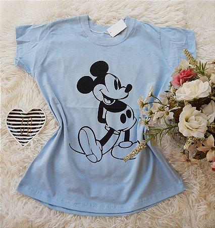 T-Shirt Feminina Mickey Grande Azul