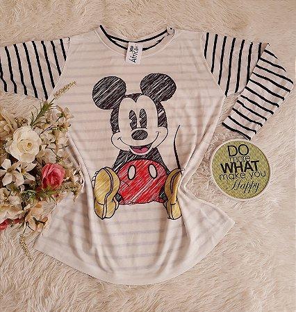 Blusa Manga Longa Mickey Listras