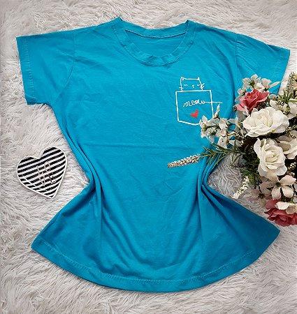 Camiseta  No Atacado Meow Azul