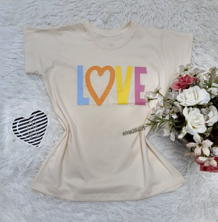 T-Shirt No Atacado Love Fundo Creme