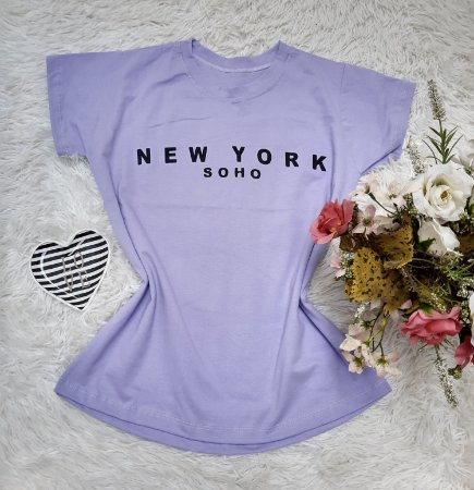 Tee No Atacado New York Lilas