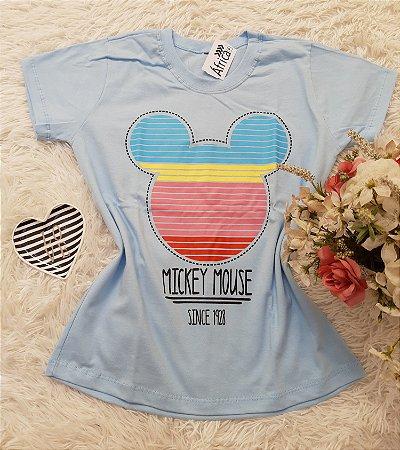 camiseta No Atacado Mickey Rosto Azul