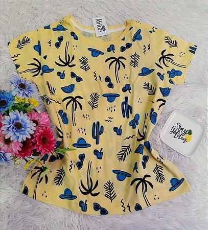 Camiseta  No Atacado Elementos Praia Amarela