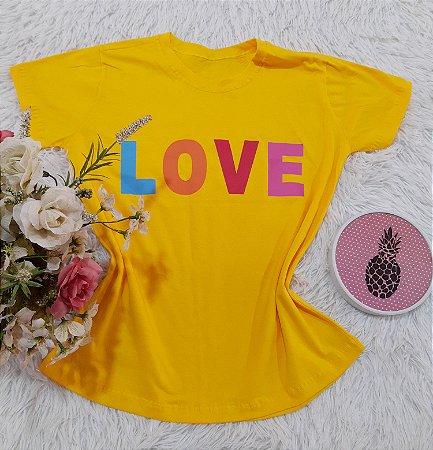 Camiseta No Atacado Love Amarelo