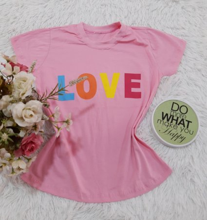 Camiseta No Atacado Love rosa