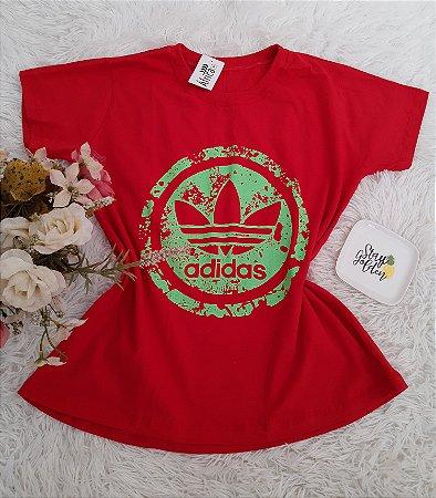 Camiseta No Atacado Adidas  Perfil Vermelho Neon