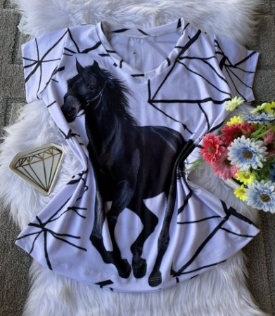 Blusa Feminina Estampa Animal no Atacado Cavalo Listras