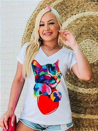 T-shirt Feminina Cat & Heart