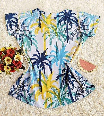 Camiseta Feminina Floral no Atacado Coqueiros Coloridos