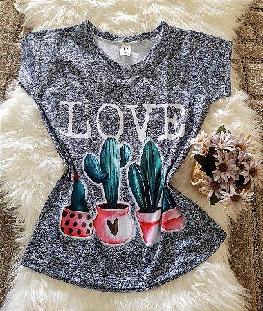 Camiseta Feminina floral no atacado Cactos Love