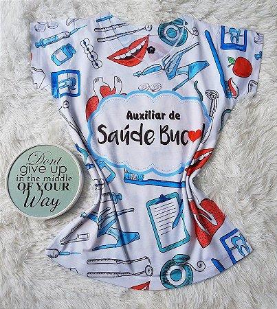 T shirt Feminina Profissão no Atacado Auxiliar de Saúde Bucal