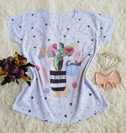 Camiseta Feminina Floral no Atacado Cacto Poá