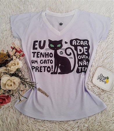 T shirt Feminina Básica no Atacado Gato Preto (Doação)