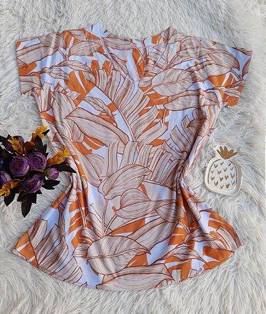 Camiseta Feminina Floral no Atacado Folhas Laranja