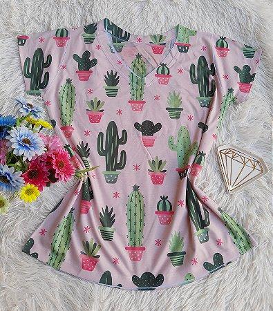 Camiseta Feminina Floral no Atacado Cactos Fundo Rosa