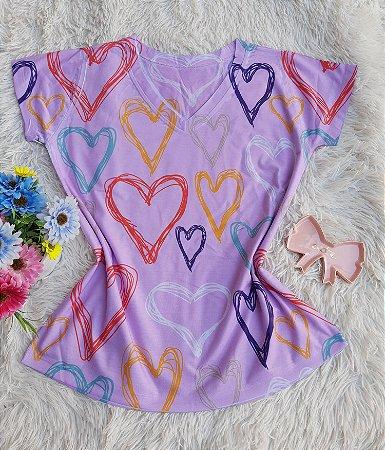 Blusa Feminina no Atacado Corações Coloridos Grandes