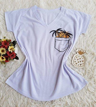 T shirt Feminina Barata no Atacado  Coqueiro Bolso