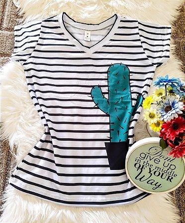Camiseta Feminina Floral no Atacado Cacto Listra
