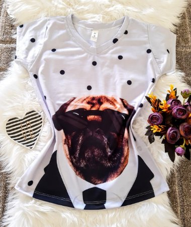 Blusa Feminina Estampa Animal no Atacado Dog Óculos