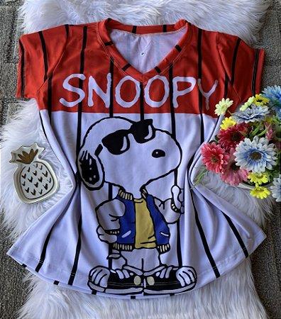Camiseta Feminina Personagem No Atacado Snoopy Óculos de Sol