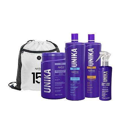 KIT ANIVERSÁRIO AGILISE - Unika Blue Gel, Shampoo Anti Resíduo, Neutralizante, Smooth Blow - Brinde: Mochila Sacola 15 Anos