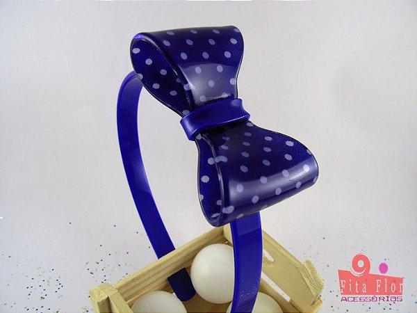 Tiara (Arco) Coleção Fita Flor. Laço Petit Poá Azul