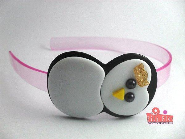 Tiara (Arco) Coleção Bichinhos Fita Flor Acessórios. Pinguim