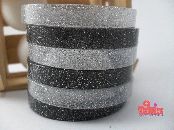 Conjunto de Pulseiras c6. Coleção Fita Flor Acessórios. Preto e Prata com Glitter