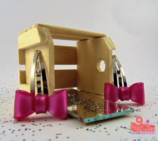 Tic Tac (Par) Coleção Fita Flor. Laço Pink Acetinado