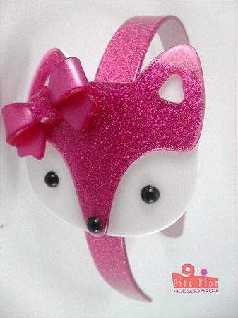 Tiara (Arco) Coleção Bichinhos Fita Flor Acessórios. Pink Acetinado com Glitter (Raposinha)