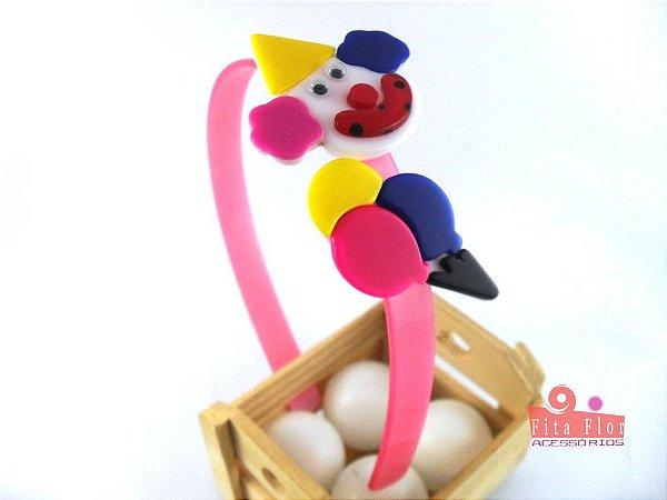Tiara (Arco) Coleção Lúdica Fita Flor Acessórios. Alegria/Circo (Palhaço e Balão, Multicor, Arco Rosa Acetinado)