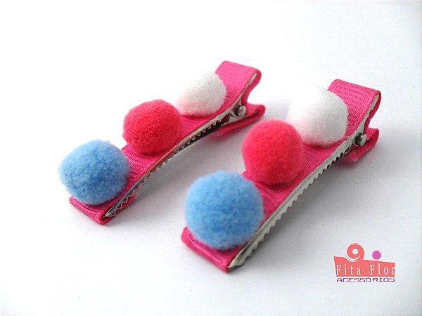 Bico de Pato (Par) Coleção Lúdica Fita Flor Acessórios. Três Pompons (Base Pink, Azul, Rosa, Branco)