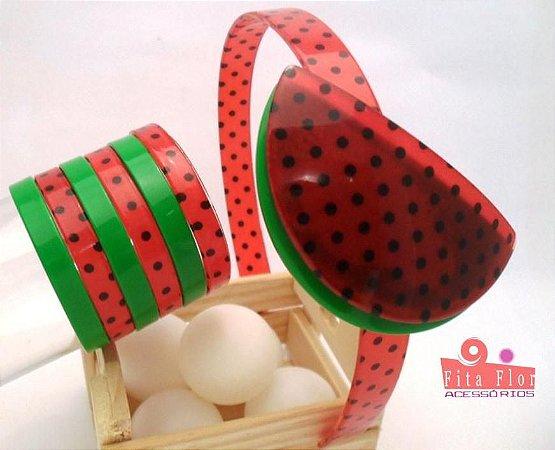 Lindo Kit (Tiara + Conj. de Pulseiras) Coleção Frutinha Fita Flor Acessórios - Melancia (Petit Poá)