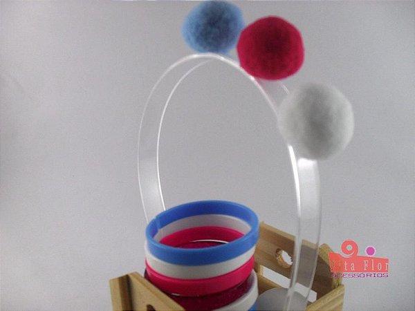 Lindo Kit (Tiara/Arco + Conj. de Pulseiras c/6) Coleção Lúdica Fita Flor Acessórios - Pompons (Azul/Pink/Branco)