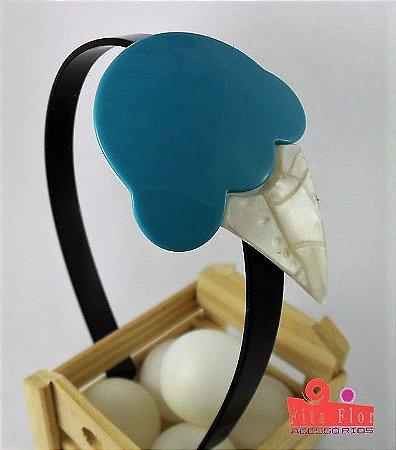 Tiara (Arco) Coleção Fita Flor Acessórios. Cores Azul Acetinado (Sorvete)
