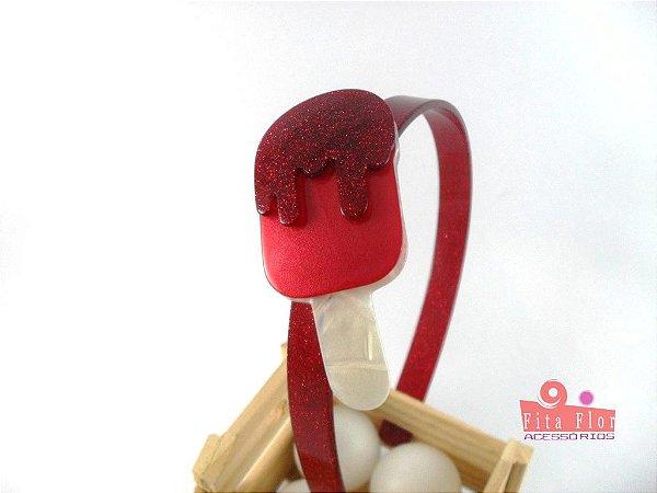 Tiara (Arco) Coleção Lúdica Fita Flor Acessórios. Picolé Acetinado com Glitter (Arco vermelho, Base perolado, calda vermelho glitter)