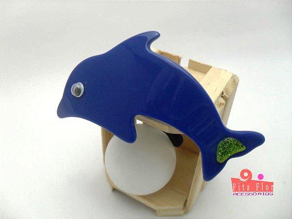 Rabicó Unidade - Coleção Bichinhos Fita Flor Acessórios. Azul Marinho (Golfinho)
