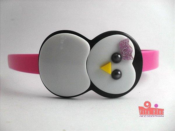 Tiara (Arco) Coleção Bichinhos Fita Flor Acessórios. Rosa Bebê acetinado (Pinguim)