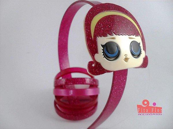 Lindo Kit (Tiara + Conj. de Pulseiras) Coleção Personagens Fita Flor Acessórios - L.O.L Pink Glitter