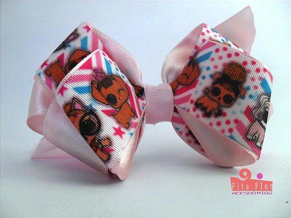 Laço Bico de Pato Coleção Tecido Fita Flor Acessórios. Fita de Gorgurão (L.O.L Rosa Bebê) 15cm