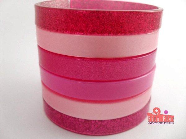 Conjunto de Pulseiras c6. Coleção Fita Flor Acessórios. Tons de Rosa/Pink com Glitter