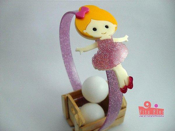Tiara (Arco) Coleção Lúdica Fita Flor Acessórios. Bailarina Lilás com Glitter